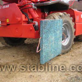 installation des plaques de calage et minipads Stabline par un camion